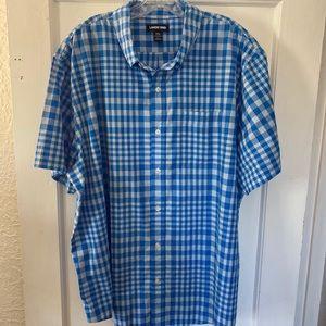 Lands' End Men's XXL Blue White Plaid Short Shirt